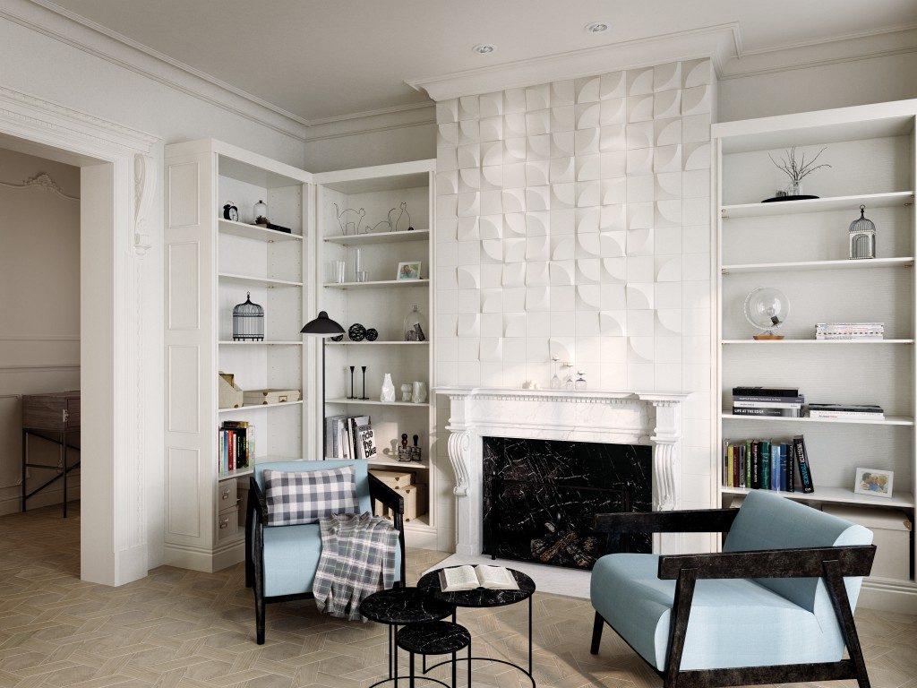 Exklusives Interior Design mit dreidimensionalen Wandfliesen