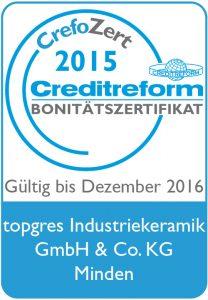 CrefoZert 2015 Creditreform Bonitätszertifikat Topgres