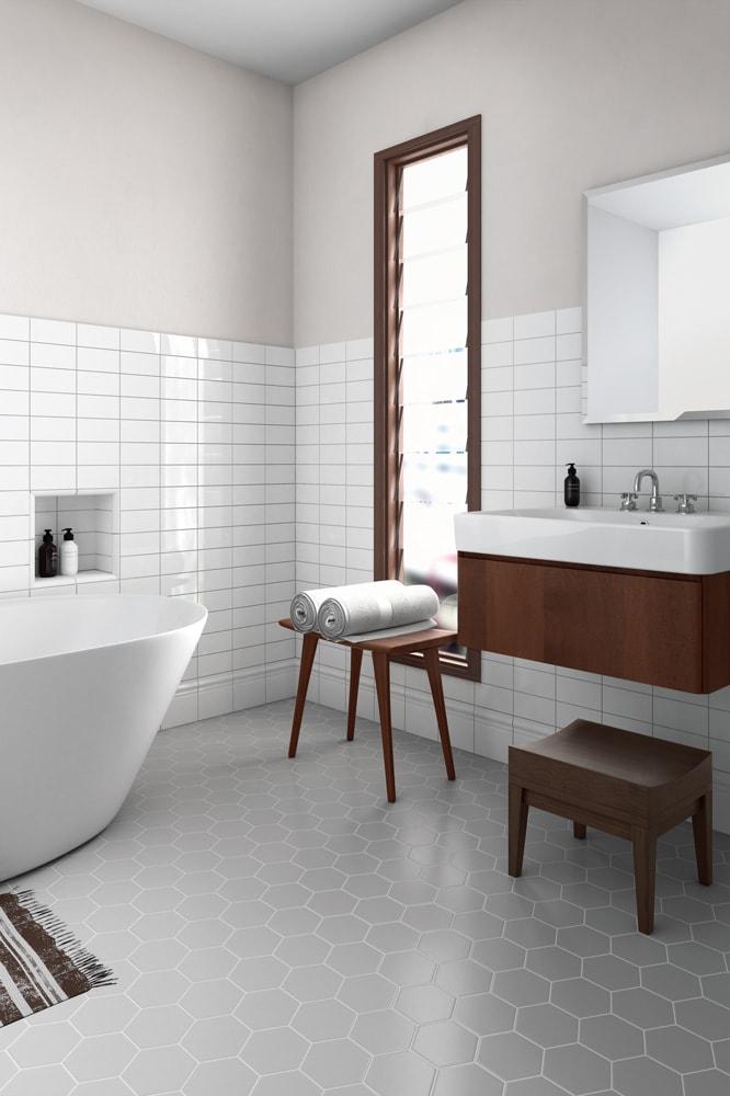 Sechseckige Bodenfliesen für Storedesign, Wohnungsbau und Ladenbau