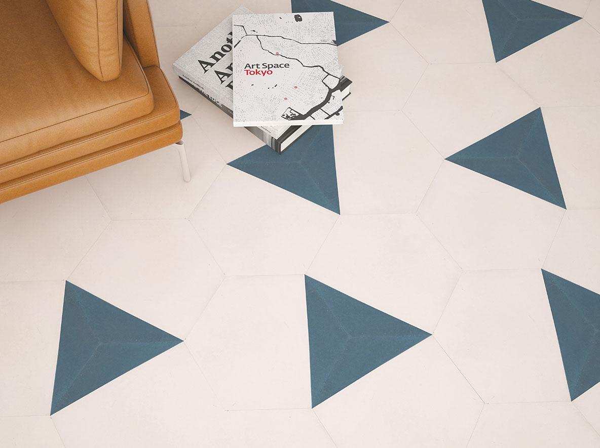 Hexagon-Fliesen aus Zement