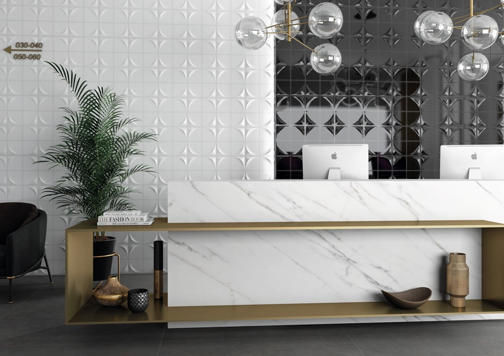 3d Wandfliesen Venture im stylischen Tresenbereich